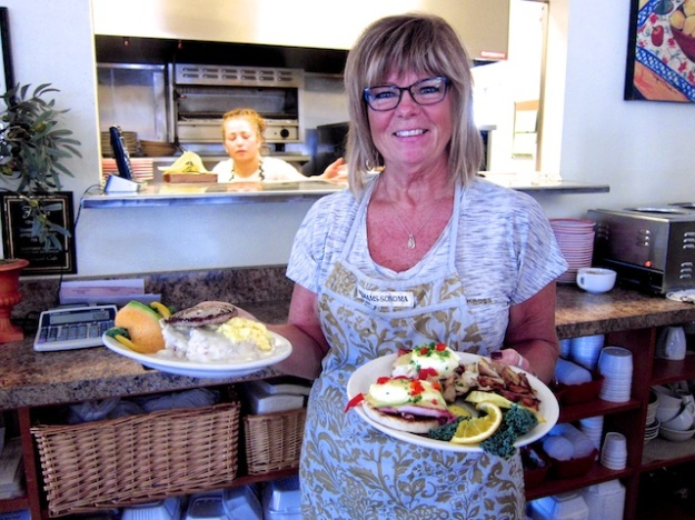 Owner Deborah Nelson displays breakfast plates at Courtyard Cafe & Bakery in Fallon, Nevada
