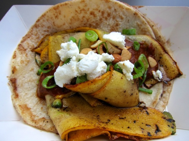 Wes Avila concocts a summer squash taco at his Guerrilla Tacos truck
