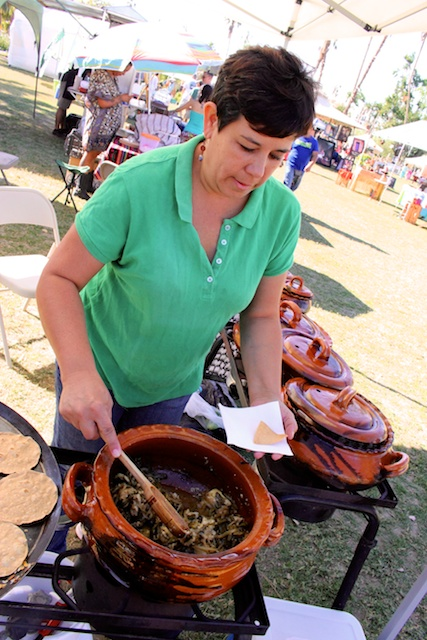 Las Cazuelas del Don co-owner Liz stirs a fabulous pot of chicken, bacon and cactus