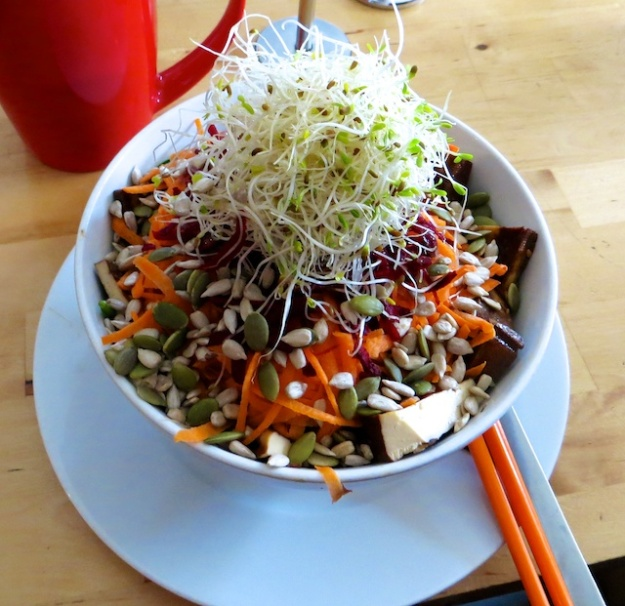 Healthy, tasty nouveau salads at Canmore's Communitea
