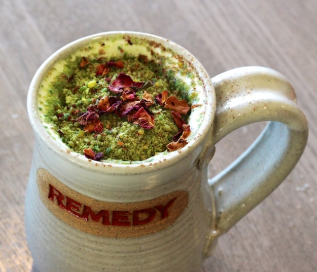 You have to filter through all the flavourful pistachio bits to get to the heart of this lovely chai at Edmonton's Remedy Cafe