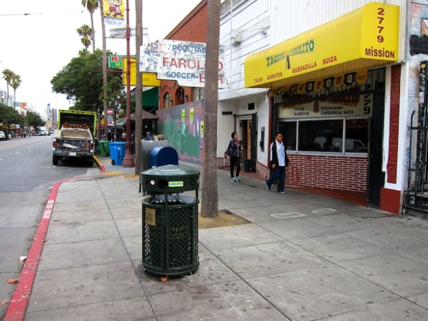 Faded Mission Street is home to many burrito palaces