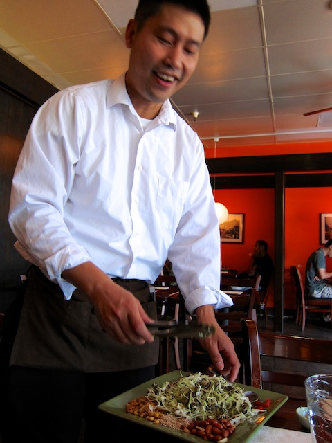 Table-side salad tossing at Kyusu Burmese Cuisine in San Jose, California