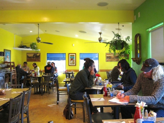 The colours are brilliant and the menu is eclectic at Cafe Brasil in Santa Cruz, California