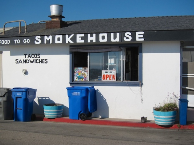 Ruddell's Smokehouse is right on the beach in Cayucos, California