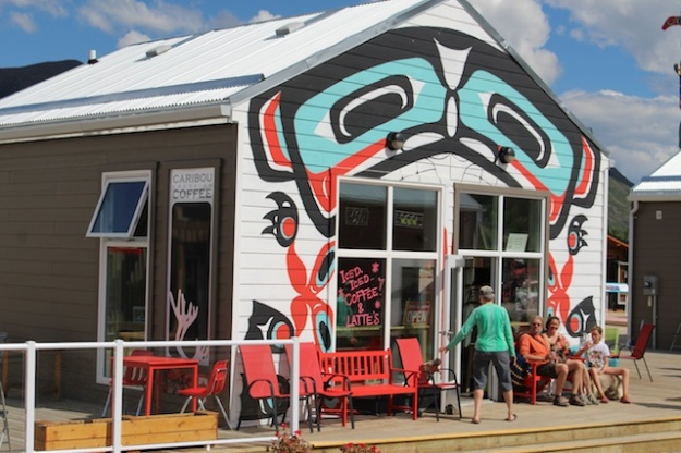Caribou Crossing Coffee is in one of several Carcross buildings with a Tagish First Nation theme