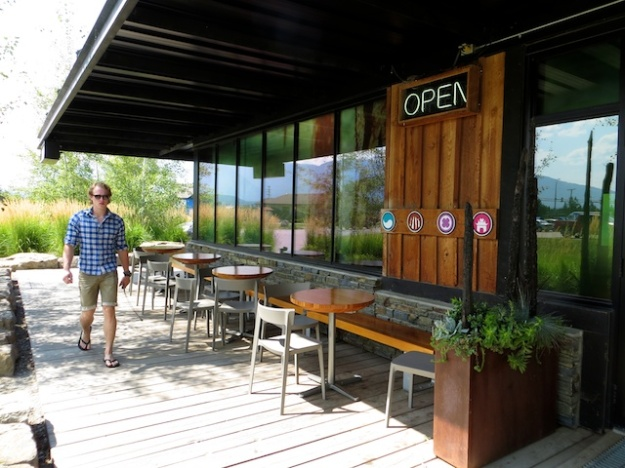 Fabulous, plant-surrounded patio at Kicking Horse Coffee Cafe in Invermere, B.C.