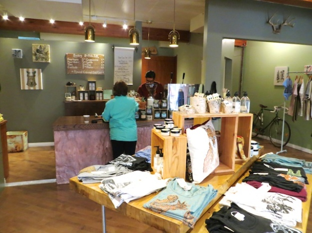 Barking Buffalo Cafe shares space with a local clothing designer/store
