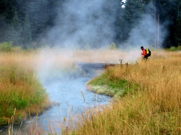 Backpacking through the sulphurous mists of Yellowstone National Park