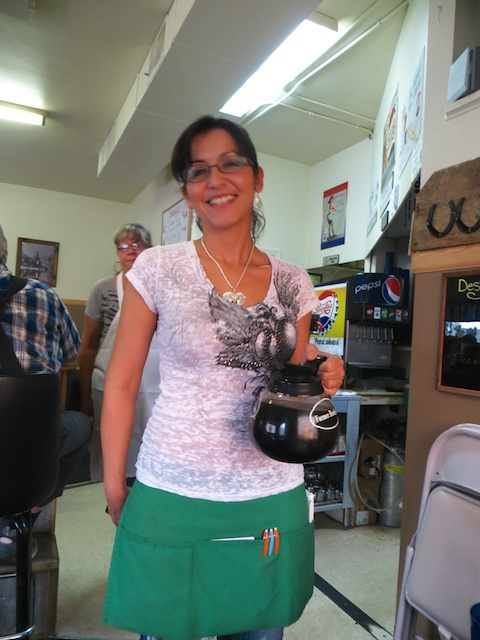 2K's Kafe owner Karla greets diners with a pot of coffee and a big smile