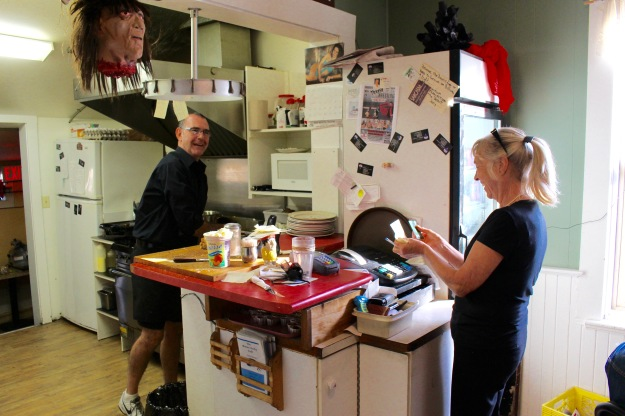 Neil and Caroline cooking up a good time at their delightful Brown Derby Cafe in Armstrong, B.C.