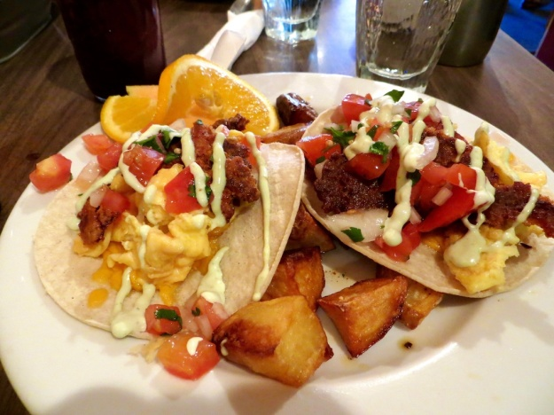 Chorizo tacos a delightful breakfast special at Pinky's Cafe in Livingston, Montana