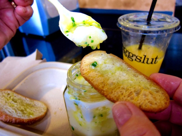 "At Los Angeles's Eggslut, the ""Slut"" is a coddled egg served in a glass jar"