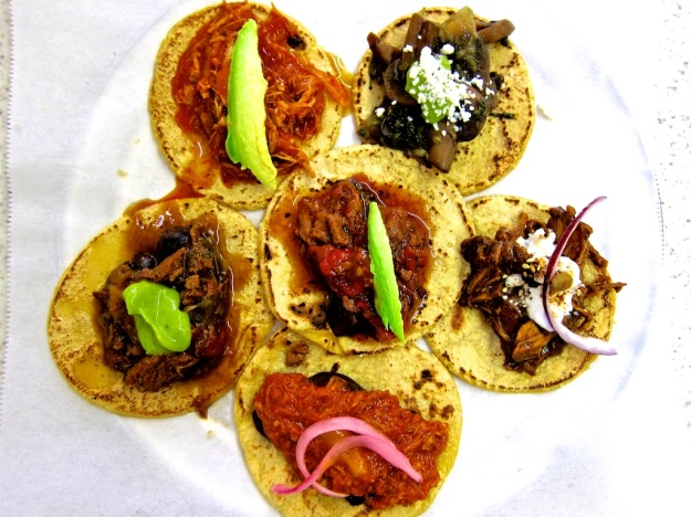 A feast for the eyes, and tastebuds: A sampler plate of tacos at Guisados in Los Angeles