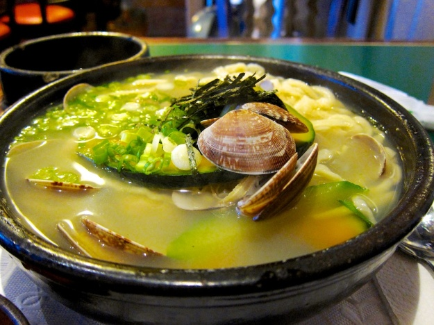 At LA's Hangari Bajirak Kalgooksoo, this boatload of clams and hand-cut noodles knocks it out of the park