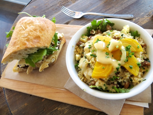 At Canmore's The Range, the house-roasted chicken sandwich and quinoa salad combo are outstanding