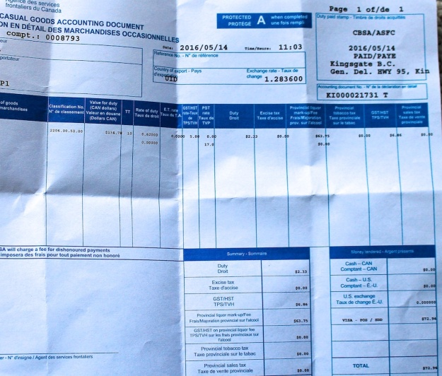 The shocking provincial tax bill when we hit Canada customs at a B.C. border crossing