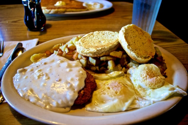 Delicious chicken-fried steak and boatload of grilled potatoes