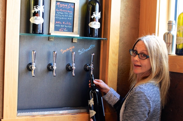 No, that's not beer on tap at Merry Cellars in Pullman, Washington. It's wine!