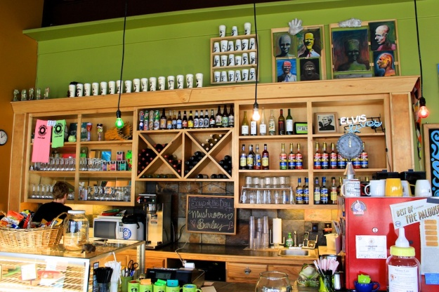 The Green Frog Cafe is a bright, colourful place with local art on the walls