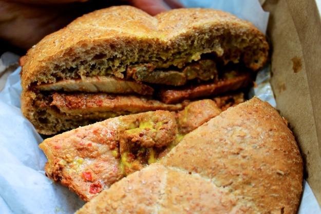 Hearty, cheap pork bifana sandwich at Edmonton's Portuguese Canadian Bakery