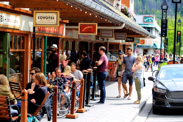 Lining up on restaurant row on Caribou Street