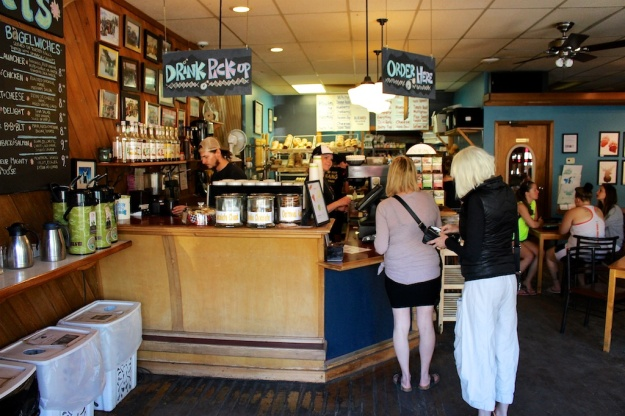 At Big Bang Bagels, in Fernie B.C., all the action, including the cooking, takes place behind the counter