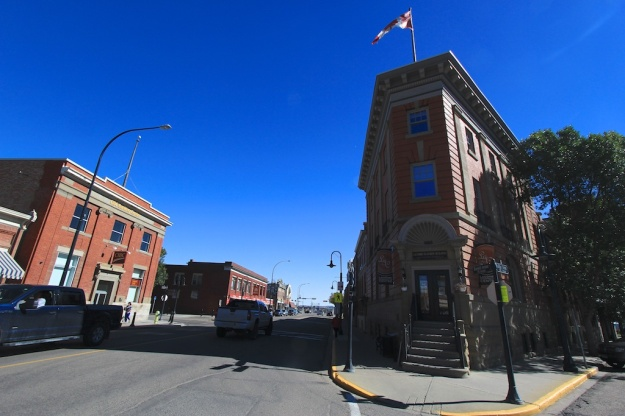 This classic flat-iron building is the showpiece of Lacombe's lovingly restored historic downtown