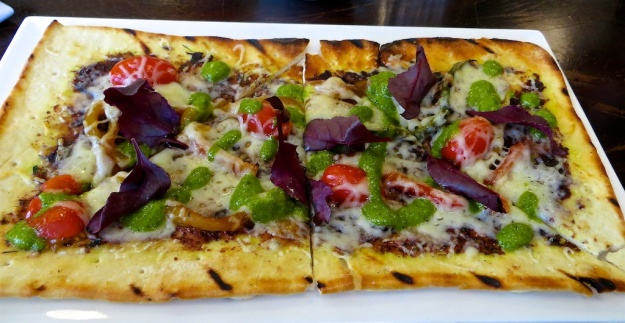 A veggie flatbread is one of the day's lunch specials