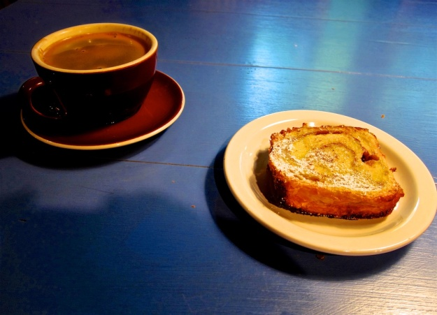 French toast and strong coffee hits the spot at Anjou Bakery near Cashmere, Washington