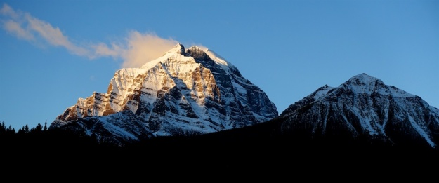 Early morning light on Mount Temple near Lake Louise